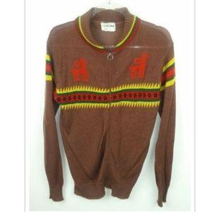 Coll Ageman Vintage Llama Cardigan Zipper Front